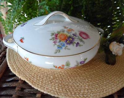KPM Germany Dresden Flowers Round Covered Casserole Bowl~ Pink Cabbage Roses EUC