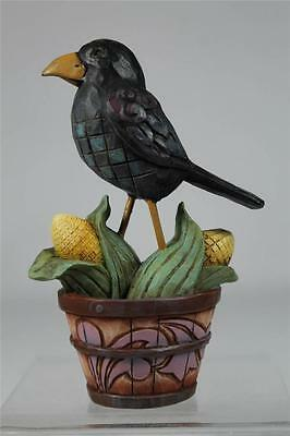 Jim Shore 'Crow On Basket' Adorable Mini Figurine With Corn  #4041148  NEW!