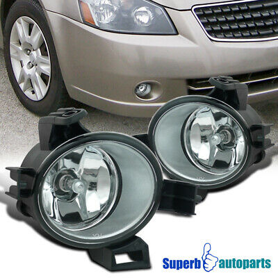 For 2005-2006 Altima Clear Fog Lamps Front Bumper Lights Kit Chrome