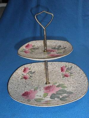 Retro Porcelain 2 Tiered Cake Plate With Handle Midwinter Staffordshire England