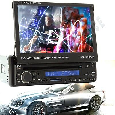 "7"" LCD Touch Screen 1 DIN Car Stereo Player Bluetooth VCD/DVD/SD/USB/AM/FM/IPOD"