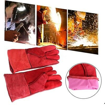 """12"""" High Temperature Welding Wear-resisting Labor Leather Gloves Safety Comfort"""