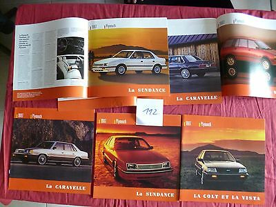 112 /  CHRYSLER PLYMOUTH  3  catalogues en français 1987