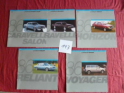 113 /  CHRYSLER PLYMOUTH  5  catalogues ou dépliant  en français 1986