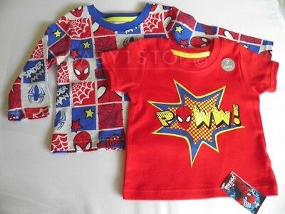 2 Pack Baby Boys Spiderman Tops T-shirt / Top Age NB First Size up to 9lbs 4.1KG