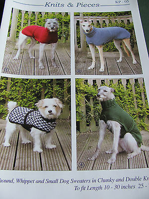 Knitting pattern for Greyhound, Whippet and small dog sweaters in DK and Chunky.