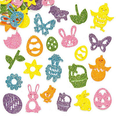 Easter Glitter Foam Stickers for Children to Decorate Cards Crafts (Pack of 120)