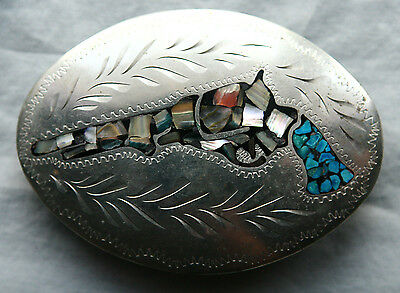 Vtg Hand Made Engraved Inlay Turquoise Mother of Pearl Gun Western Belt Buckle