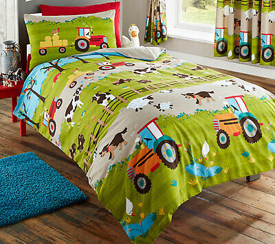 Farmyard Farm Tractor Cow Dog Reversible Duvet Quilt Cover Set, Green Grey Beige