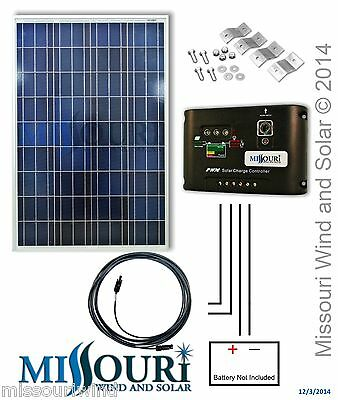 COMPLETE KIT 100 Watt Photovoltaic PV Solar Panel 12 Volt Boat Off Grid