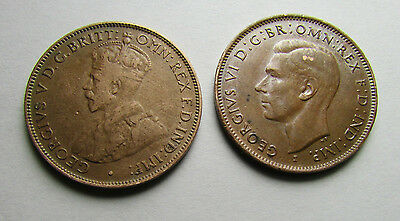 1933 & 1943 Commonwealth of Australia Coins ~ One Half Penny & Half Penny