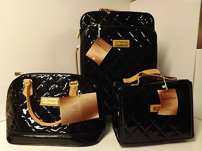 Joy & IMAN 3-piece Iconic Quilted Patent Luggage Set with Handbag-Black-NWT