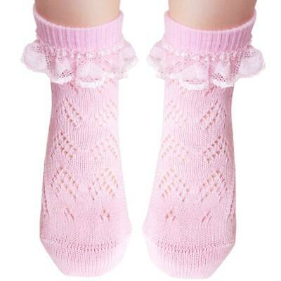 Girls cotton Pelerine socks with white lace flat toe seam for sensitive feet