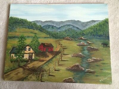 Vintage Oil Painting Trees Landscape Forest Cabin Country Decor