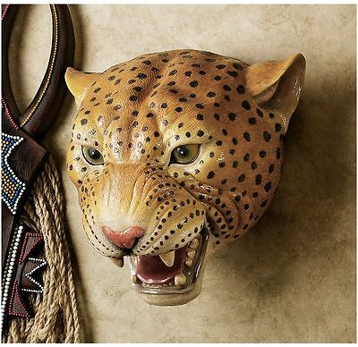 Replica African Wildlife Menacing Spotted Leopard Wall Mounted Gallery Trophy