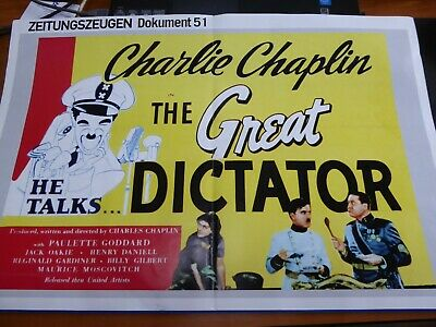 Werbeplakat Charlie Chaplin Kino The Great Dictator Film Legende