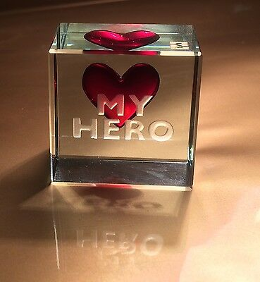 """Spaceform """"My Hero"""" Glass Token Romantic Love Gifts Ideas for him"""