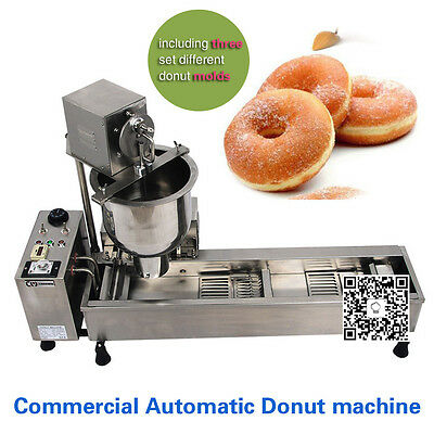 free shipping,Automatic Donut Machine 3KW Commercial Donut Maker 3 Set free Mold
