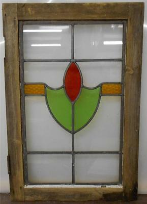 "MID SIZED OLD ENGLISH LEADED STAINED GLASS WINDOW Abstract Band 17.5"" x 26"""