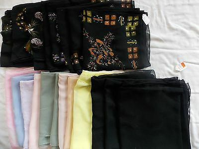 Lot of 20 Square Hijab, Scarves ($3 each)