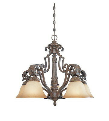 Venetian Bronze And Gold 5 Light Chandelier With Fresco Beige Glass