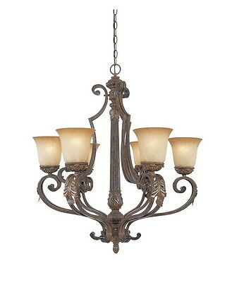 Venetian Bronze And Gold 6 Light Chandelier With Fresco Beige Glass
