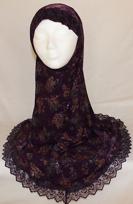 Lot of 14 2-Piece, Extra Long Ladies' Size Microfiber Al Amira Hijab with Lace