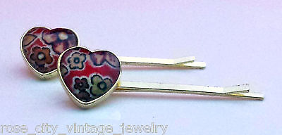 Vintage GOLD TONE Metal RED Faceted LUCITE FLOWER HEART Hair Clip BARRETTE SET