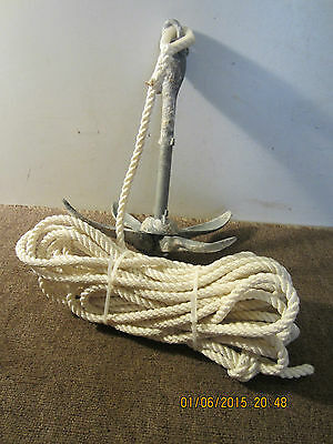 Maritime, Salvaged Folding Boat Anchor & Line