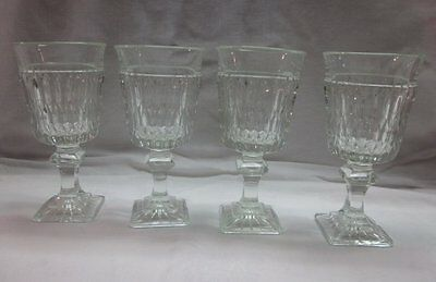SET 4 MT VERNON CLEAR WINE GOBLETS/GLASSES RIBBED W/SQUARE BASE INDIANA GLASS