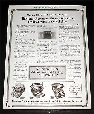 1914 Old Magazine Print Ad, Remington Adding And Subtracting Typewriters, Art!
