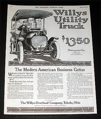 1914 Old Magazine Print Ad, Willys-Overland Utility Truck, Is A Business Getter!