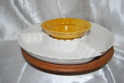 Vintage California USA Pottery (L56) Lazy Susan 4 Sections White & Brown-Rotates