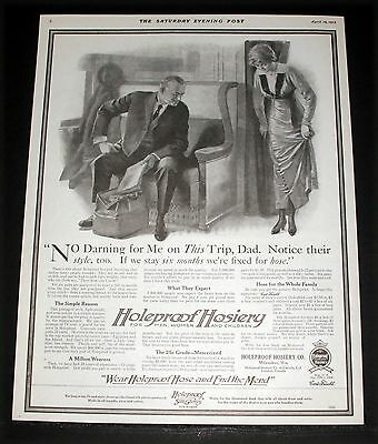 1913 Old Magazine Print Ad, Holeproof Hosiery, They Are So Soft And So Stylish!