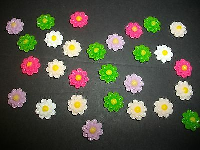 New Lot of 15 Mixed Color Flowers Flatbacks 10MM  US SELLER 021