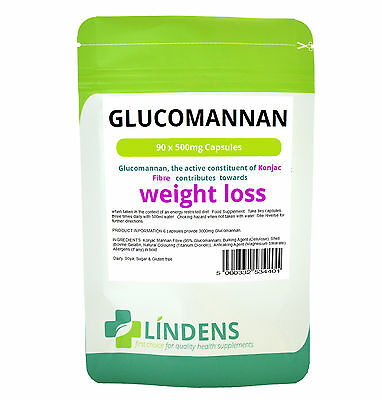 Glucomannan 500mg 90 Capsules Konjac Fibre Slimming Weight Loss Diet Appetite