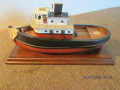 Nautical Decor Wooden Tug Boat Model On Stand