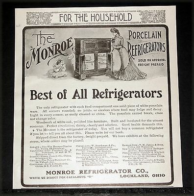 1902 Old Magazine Print Ad, Monroe Porcelain Refrigerators, The Best Of All!