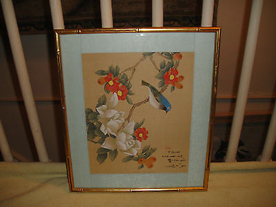 Chinese Or Japanese Drawing Woodblock Print Bluebird & Flowers Stamped & Signed