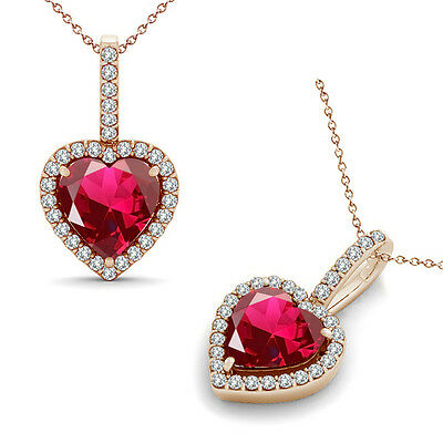 """Ruby Halo Heart Love Gem Birth Stone Pendant Necklace 14K Rose Gold 18"""" Chain"""