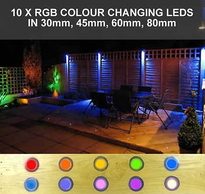 10 x LED RGB COLOUR CHANGING DECK / KITCHEN / DECKING / PLINTH LIGHTING / LIGHTS