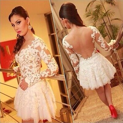 Sexy Women's Sheer Back Sleeve Lace Short Dresses Evening Prom Club Party Ball