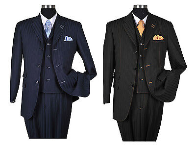 NWT Men's 3 piece Milano Moda Elegant and Classic Striped 3-Button Suit 5267