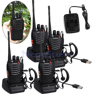 4pcs BaoFeng BF-888S Walkie Talkie UHF 400-470MHZ 2Way 16CH Earpiece USB Charger