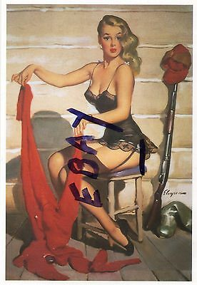 Beautiful Sexy Blond Hunter In Nightie-Who Me? (Hard To Suit)-Gil Elvgren