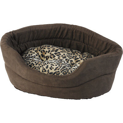 Soft Faux Suede Cat Bed Mollies Dog Leopard Fleece Cushion Kitten Puppy Basket