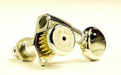 Genuine Hipshot 6 string staggered Nickel open locking tuners with D05 button