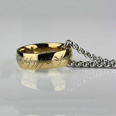 Stainless Steel Lord of the Rings The One Ring Bilbo's Hobbit Gold Ring & Chain