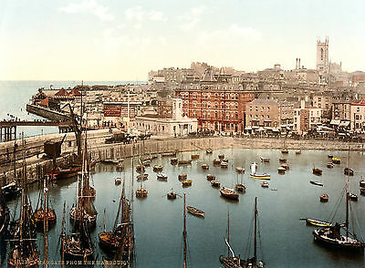 Vintage  Photochrome Photo Reprint Margate from the Harbour 1897 A4