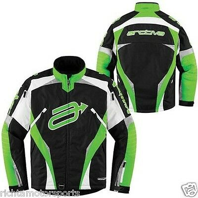 ARCTIVA Men's Black/Green COMP 7 INSULATED Winter Snowmobile Jacket - Large
